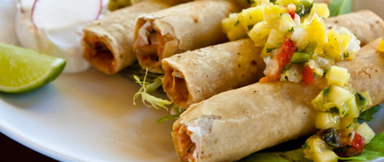 Chicken Flautas with Mango Habañero Salsa