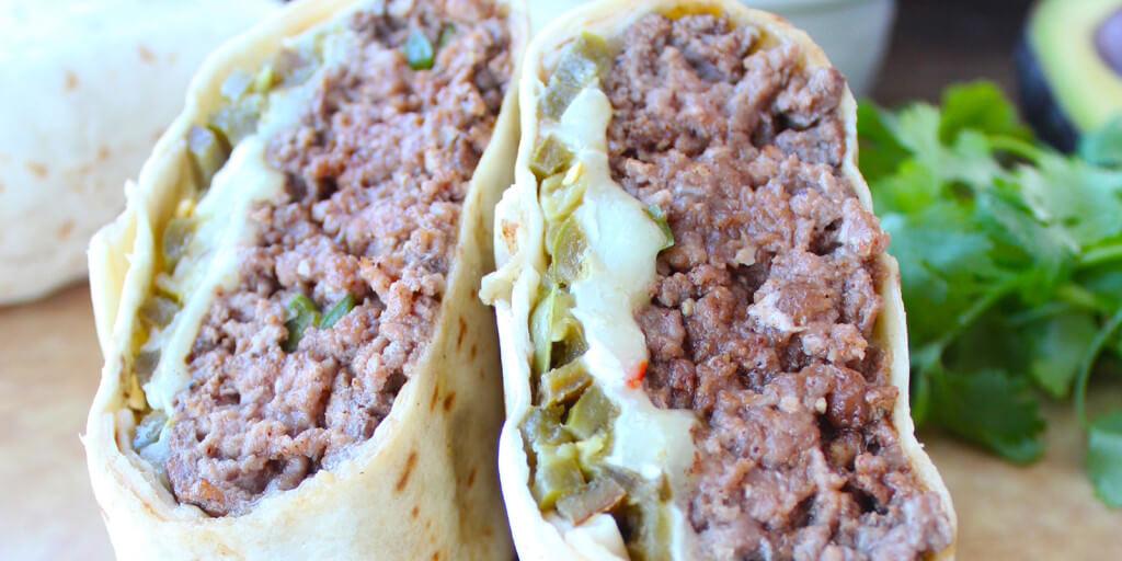 Tortillas Wrapped Jalepeno Cheeseburger