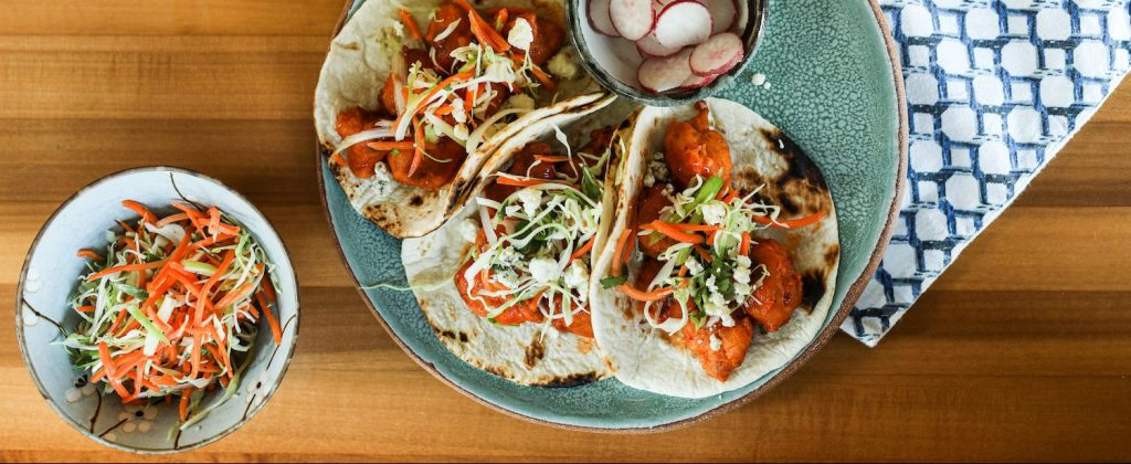 Fried Cauliflower Buffalo Tacos