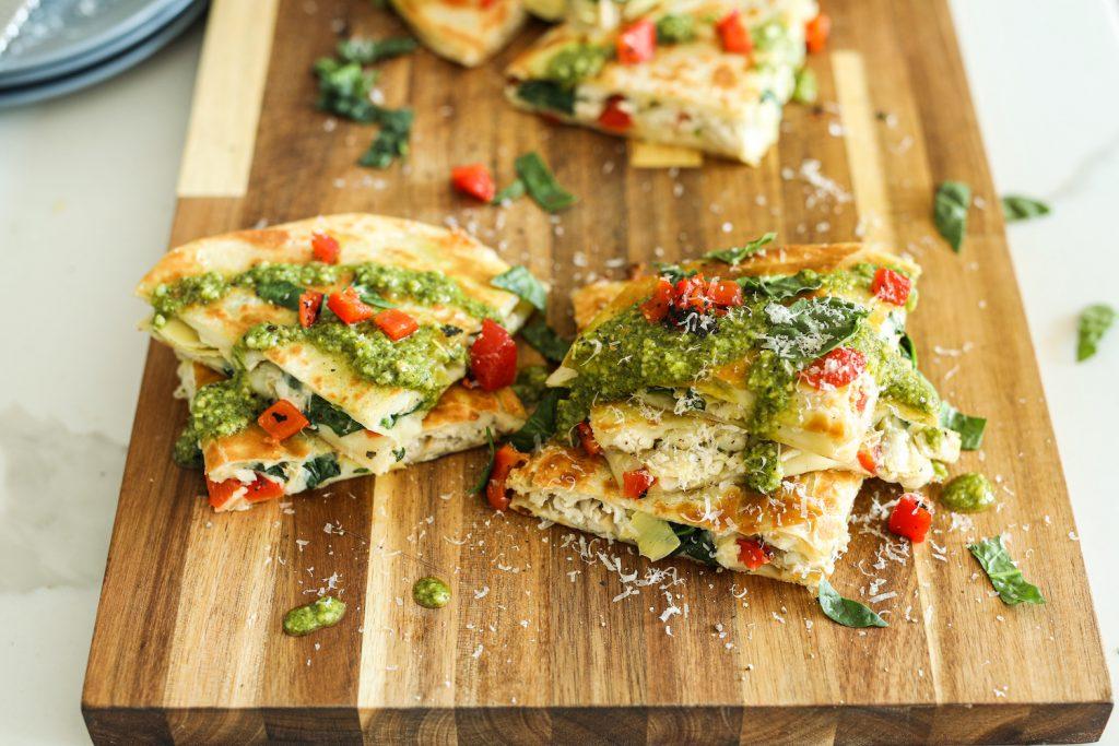 Spinach Artichoke Chicken Quesadillas